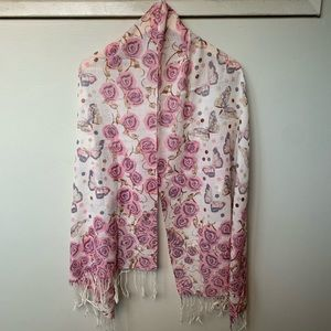 Beautiful Wool Scarf: Rose Butterfly Polka Dots
